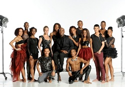 Ailey II dancers with Artistic Director Troy Powell and Rehearsal Director Alia Kache