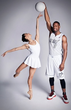 Basketball star Dwyane Wade of Miami Heat with ballerina Patricia Delgado of Miami City Ballet