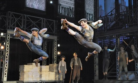 Aaron-J.-Albano-L-and-Jess-LeProtto-R-with-the-cast-of-NEWSIES.-Photo-by-Deen-van-Meer