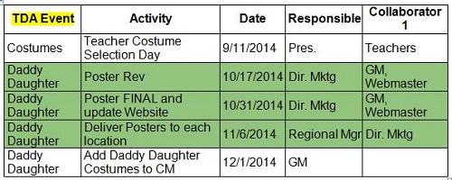 Dance Studio Planning Schedule