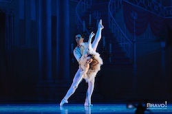Carlos Lopez partners Ashley Tuttle in Evansville Ballet's The Nutcracker. Photo by Bravo Photo Art.