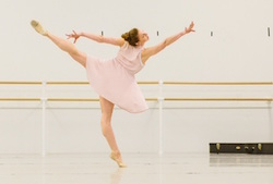 PA Ballet Principal Lauren Fadeley in rehearsal for Matthew Neenan's 'The Last Glass'. Photo courtesy of Fadeley.