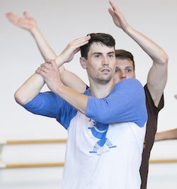 Hubbard Street Dancer Andrew Murdock, foreground, with Kevin J. Shannon in rehearsal for 'N.N.N.N.' by William Forsythe