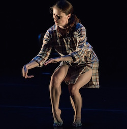 Choreographer Helen Simoneau in her most recent solo work, 'Caribou'. Photo by Peter Mueller.