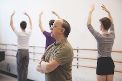 Lawrence Rhodes, artistic director of Juilliard's Dance Division, teaching a dance class.