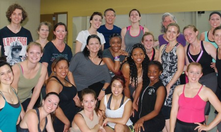 Vincas Greene with Brenau University dance students. Photo courtesy of Greene