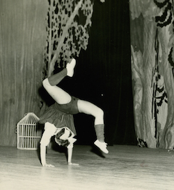 A young Betsey Johnson performing a cartwheel. Photo courtesy of Johnson.