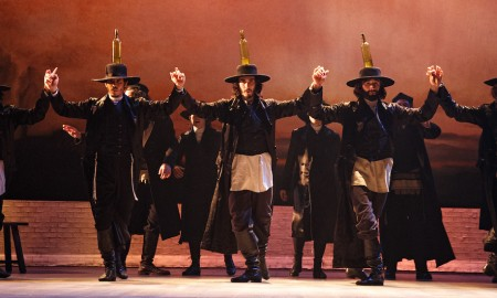 Jesse Kovarsky, Jacob Guzman, Reed Luplau, Brandt Martinez, Eric Bourne in the Bottle Dance from 'Fiddler on the Roof'. Photo by Joan Marcus.