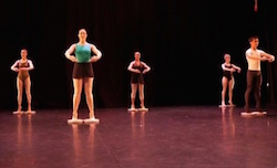 Towson University dance majors integrating rotator discs into classwork to enhance turnout. Photo by David Merino.