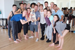 AGH in the Studio with Travis Wall, Nick Lazzarini and Theo the Dog. Photo courtesy of Artists Giving Hope.