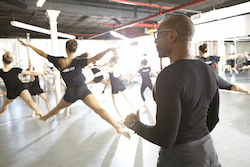 Michael Blake leads a class at Joffrey Ballet School. Photo by James Culp