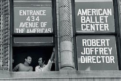 Robert Joffrey and Gerald Arpino at the Joffrey Ballet School window, Photo courtesy of JBS