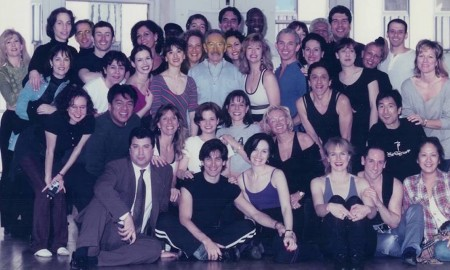 Phil Black with many former students at Broadway Dance Center in 1996.