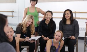 Dance teachers talk in class. Photo courtesy of Broadway Dance Center.