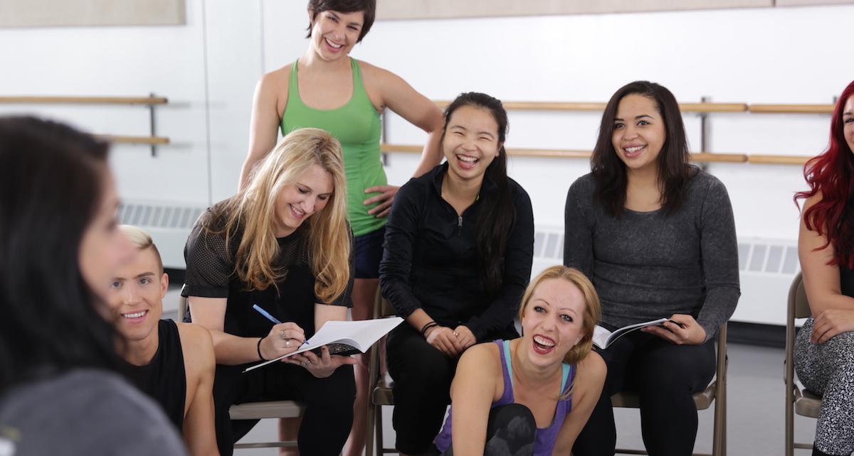 Dance teachers talk in class. Photo courtesy of Broadway Dance Center.