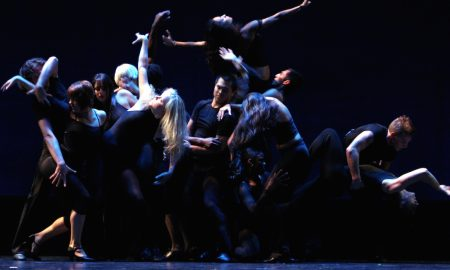 Broadway Theatre Project dancers executing a Fosse 'amoeba'. Photo courtesy of Debra McWaters.