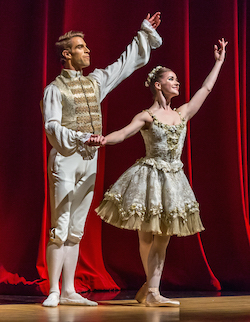 Cassandra Trenary and James B Whiteside taking a bow after the third act Sleeping Beauty pas at the Virginia Arts Festival. Photo by Heiko DeWees