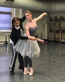 Cassandra Trenary in rehearsal with Irina Kolpakova. Photo by James Whiteside
