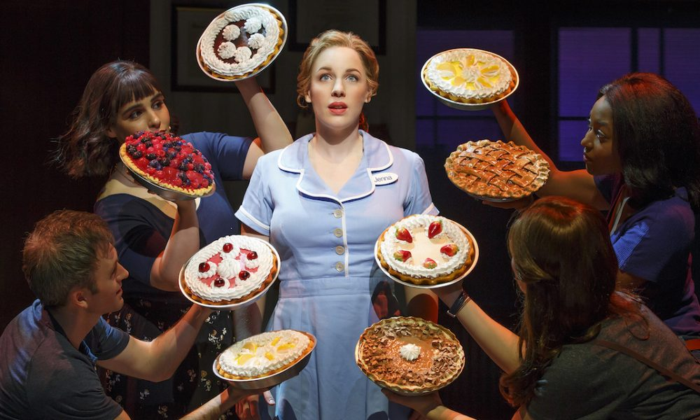Jeremy Morse, Molly Hager, Jessie Mueller (Jenna), Aisha Jackson and Stephanie Torns in 'Waitress', on Broadway at the Brooks Atkinson Theatre. Photo by Joan Marcus.