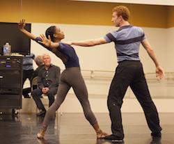 John McFall in 'THREE' rehearsal with Kiara Felder and Heath Gill. Photo by Charlie McCullers.