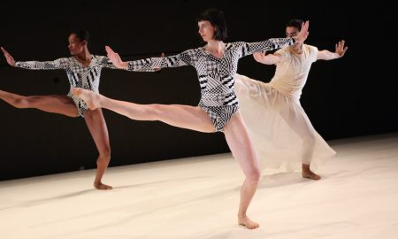 Dance Heginbotham performing 'TWIN' in 2012 at BAC's Jerome Robbins Theater. Photo by Julieta Cervantes.