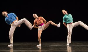 Nicholas Coppula, Amy Ruggiero and Daniel Baker in Twyla Tharp's 'Brahms Paganini'. Photo by Yi-Chun Wu.