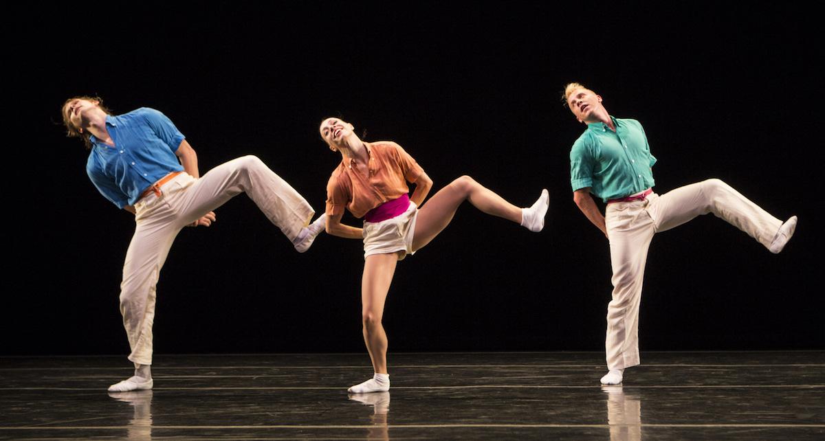 Nicholas Coppula, Amy Ruggiero and Daniel Baker in Twyla Tharp's 'Brahms Paganini'. Photo by Yi-Chun Wu.