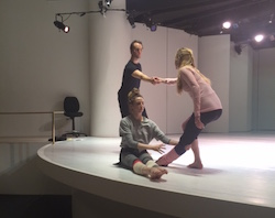 Sara Mearns, Gretchen Smith and Jared Angle rehearsing at the Guggenheim. Choreography by Jodi Melnick. Photo courtesy of Melnick.