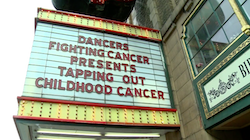 Tapping Out Childhood Cancer marquee at Alabama Theatre. Photo courtesy of the Swader family.
