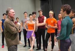 Jean-Pierre Bonnefoux speaks with dancers. Photo by Jeff Cravotta.
