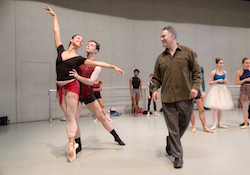 Jean-Pierre Bonnefoux with former dancers Melissa Anduiza and David Morse. Photo by Jeff Cravotta.
