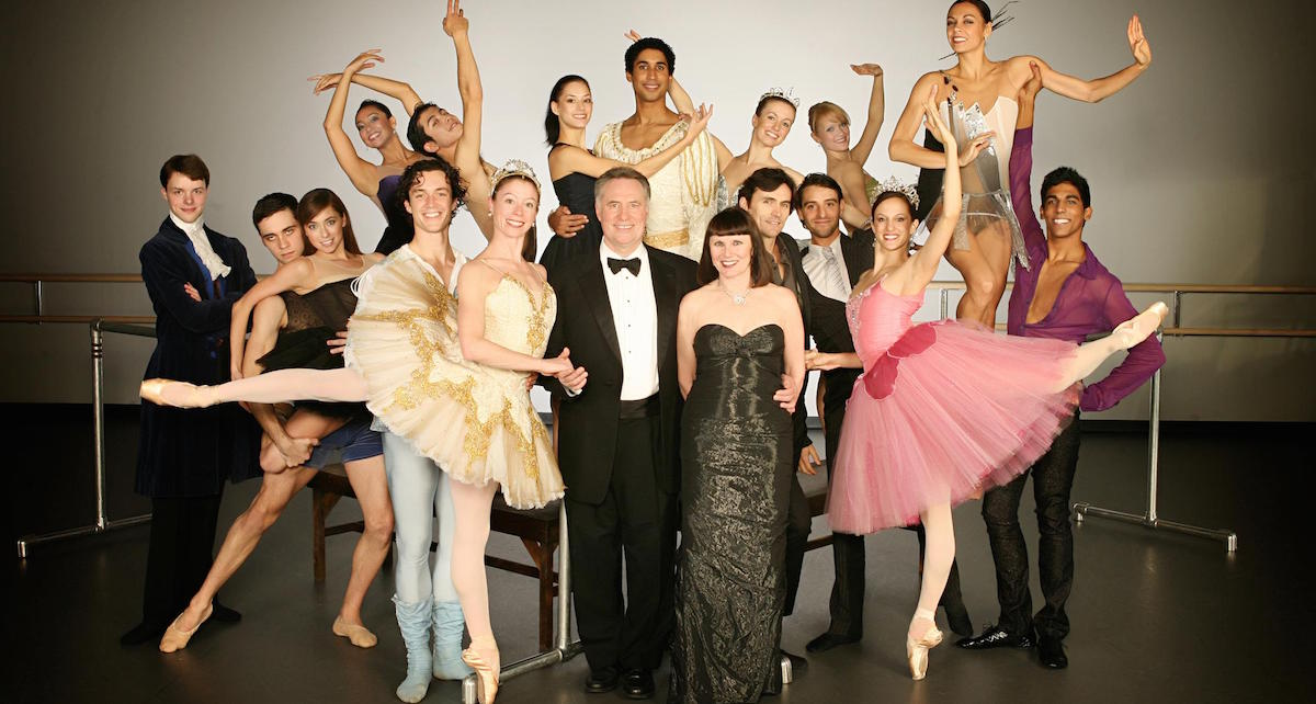 Jean-Pierre Bonnefoux and Patricia with the Charlotte Ballet dancers. Photo by Jeff Cravotta.