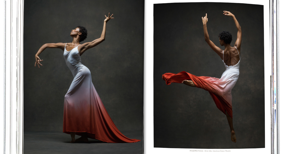 Sample pages from 'The Art of Movement', featuring Jacqueline Green of the Alvin Ailey Dance Theater. Photo by NYC Dance Project.