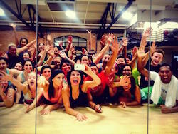 Shira Beth Brenner and her students pose for a group photo after a Zumba class. Photo courtesy of Brenner.