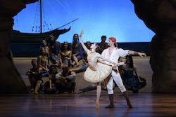 Seo Hye Han, Lasha Khozashvili and Boston Ballet in Ivan Liška's Le Corsaire; photo by Liza Voll, courtesy of Boston Ballet.