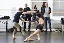 Stager Kathryn Bennetts, choreographer William Forsythe, Patrick Yocum, and Misa Kuranaga in rehearsal for 'Artifact'. Photo by Liza Voll, courtesy of Boston Ballet.