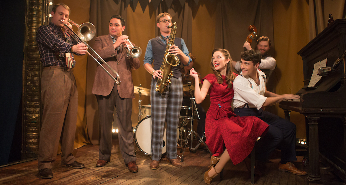 'Bandstand' cast members Geoff Packard, Joey Pero, James Nathan Hopkins, Laura Osnes, Corey Cott and Brandon James Ellis. Photo by Jeremy Daniel.