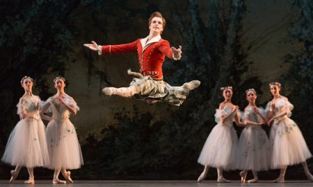 Harrison James with artists of The National Ballet of Canada in 'La Sylphide'. Photo by Aleksandar Antonijevic.