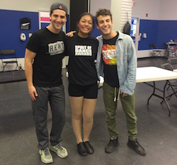 Danny Kornfeld, right, and Tim Ehrlich, left, of Rent with a student after teaching Broadway Connection class at In Sync Center for the Arts. Photo courtesy of BC