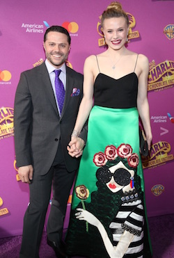 Josh Bergasse with his fiancée, New York City Ballet Principal Sara Mearns, on the red carpet at the opening of 'Charlie and the Chocolate Factory'. Photo by Tricia Baron.