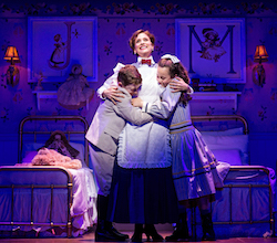 John Michael Pitera, Elena Shaddow and Abbie Grace Levi in 'Mary Poppins' at Paper Mill Playhouse. Photo by Matthew Murphy.