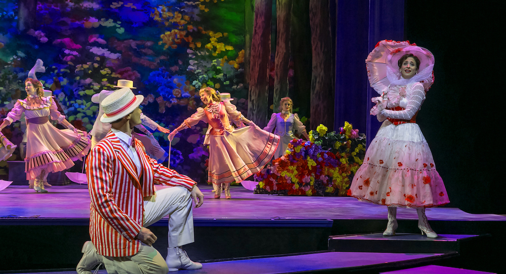 Mark Evans, Elena Shaddow and the cast of 'Mary Poppins' at Paper Mill Playhouse. Photo by Jerry Dalia.