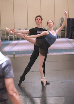 Claudio rehearsing then-HBII students, Jack Thomas and Madison Young, for the Final Awards Gala. Photo by Scott Gill.