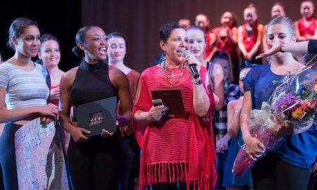 Deborah Mason on stage with Cambridge Youth Dance Program. Photo by Jamie Dudley.