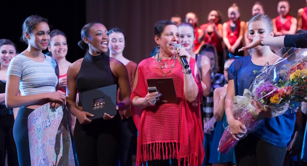 Deborah Mason on stage with Cambridge Youth Dance Program. Photo by Jamie Dudley.