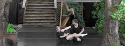 Kirsten Wicklund and Andrew Bartee (dancers), Elisa Thorn (harpist) from 'The Dance Deck Trois' in 2016. Photo by Sylvain Senez.