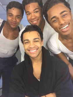Noah Ricketts (sitting) backstage at 'Beautiful' with fellow Drifters right before heading to the stage for 'On Broadway'
