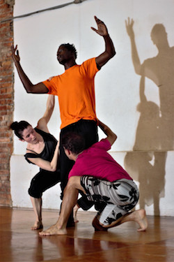 Wendy Jehlen with collaborators in rehearsal for 'Conference of the Birds' in Brazil. Photo courtesy of Jehlen.