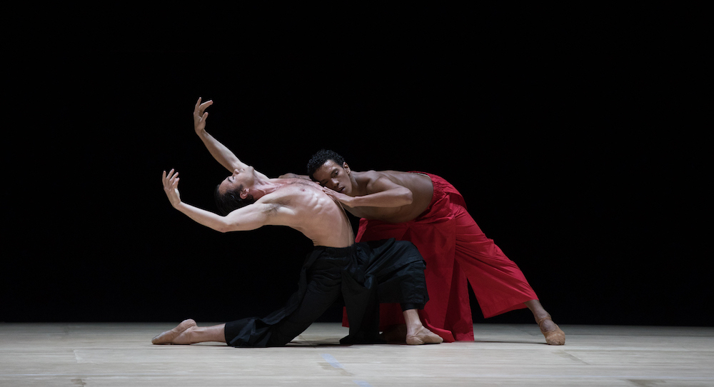 Paulo Arrais and Irlan Silva in Wayne McGregor's 'Obsidian Tear'. Photo by Rosalie O'Connor, courtesy of Boston Ballet.