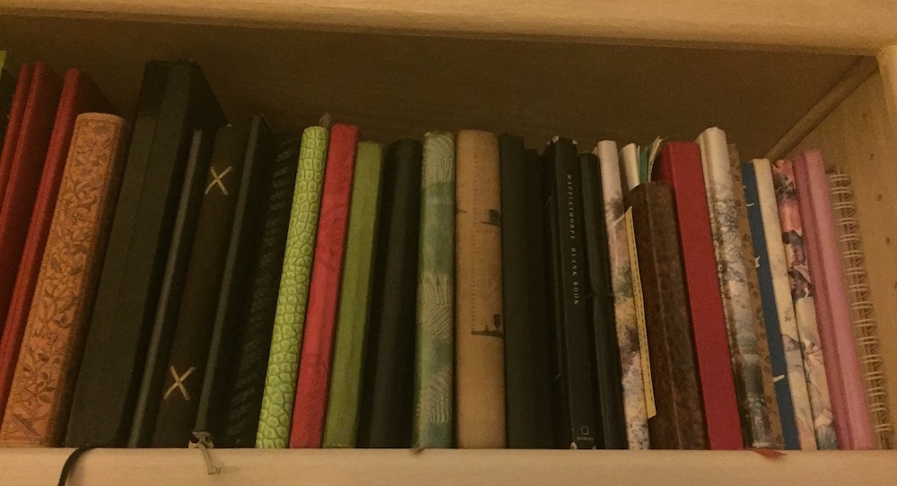Wendy Joy's shelf of journals. Photo courtesy of Joy.
